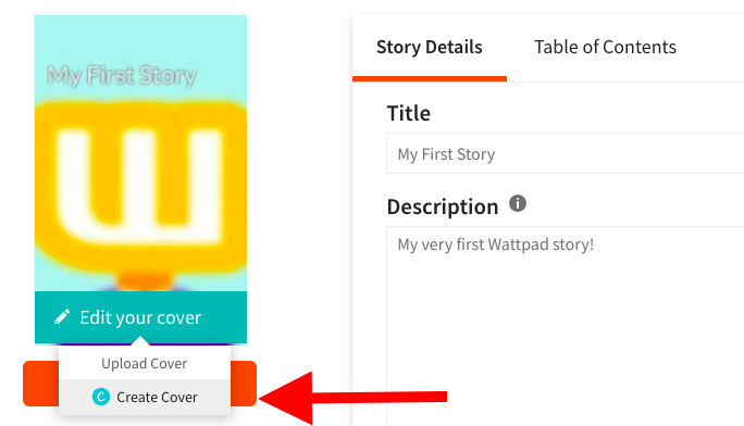 A screenshot pointing to Create cover with Canva option on web