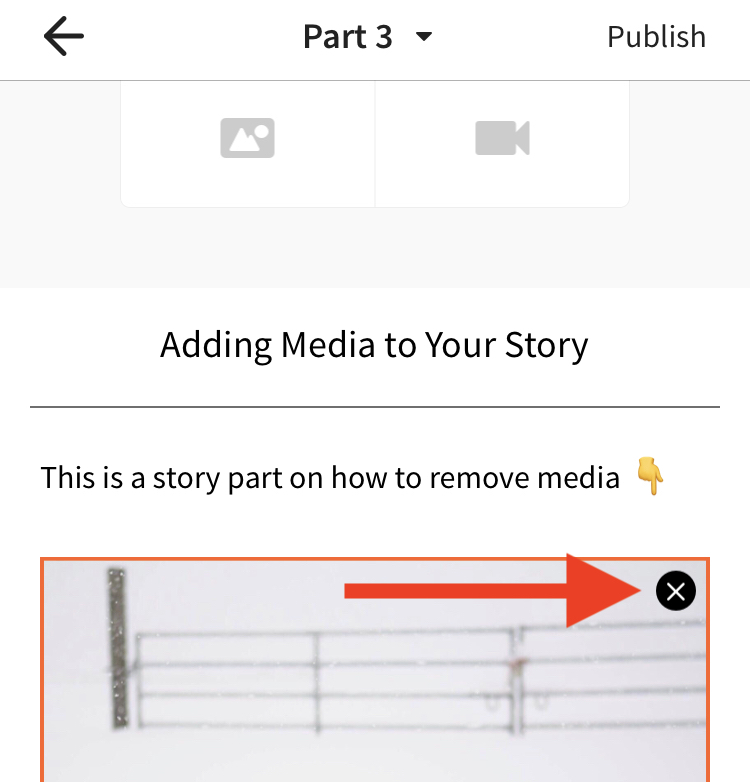 A screenshot pointing to the remove image option inline on iOS