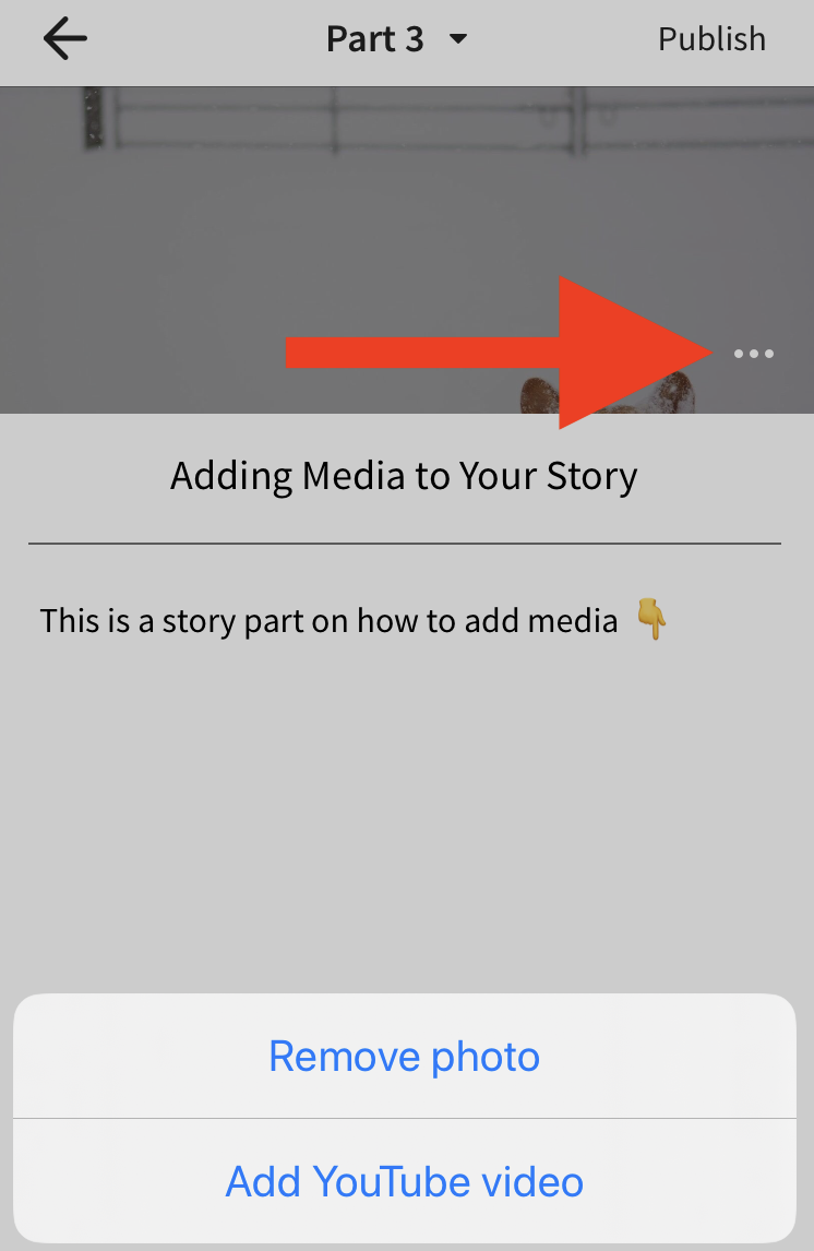 A screenshot pointing to the remove image option in the header on iOS
