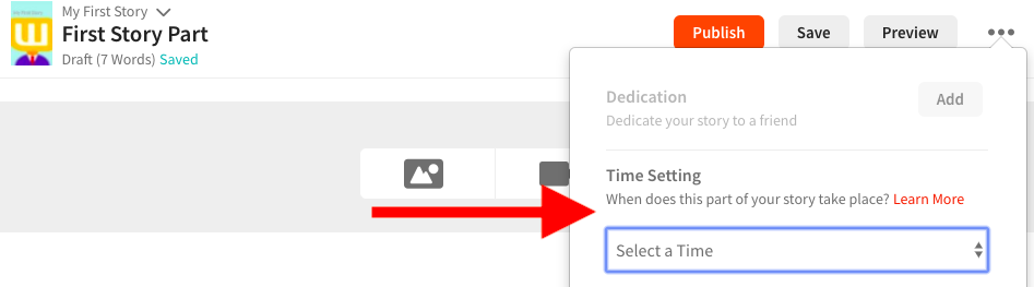 A screenshot pointing to the time setting option on web