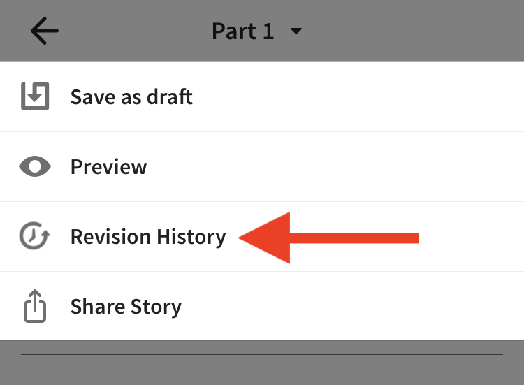 Screenshot pointing to revision history on iOS