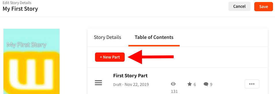 Screenshot pointing to New Part button on web.