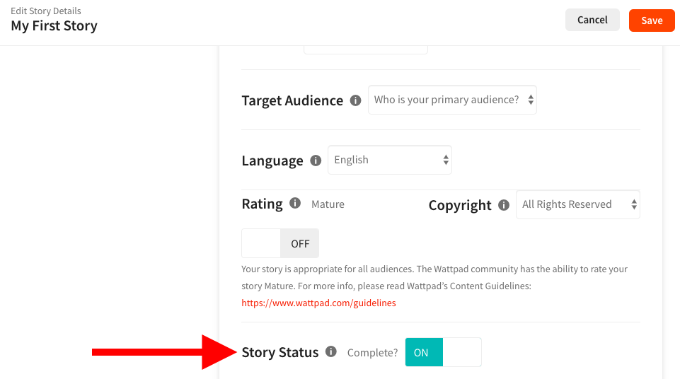 Screenshot pointing to where you mark your story as complete on web