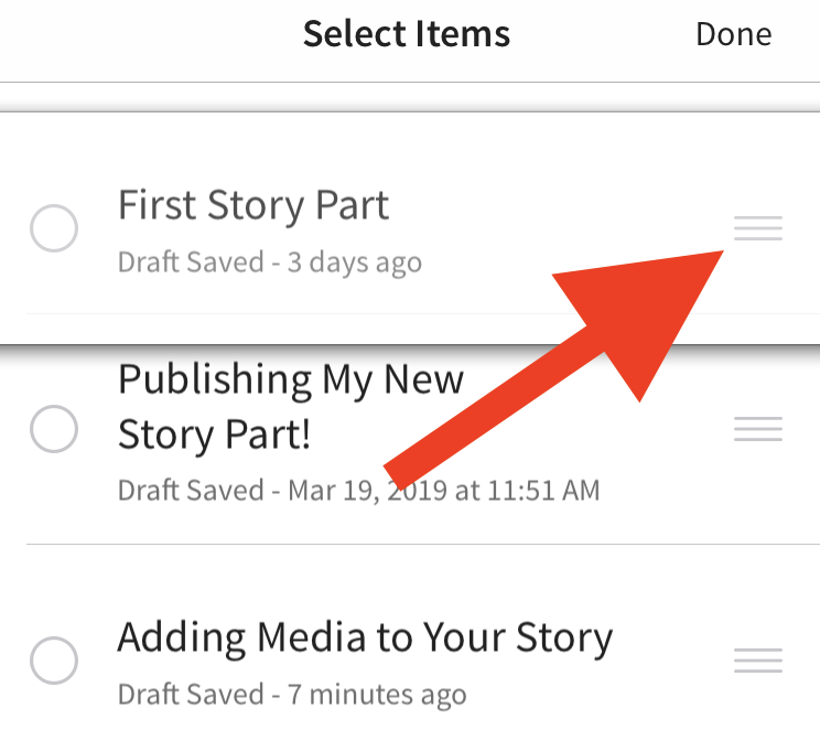 Screenshot of how to reorder your story parts on iOS