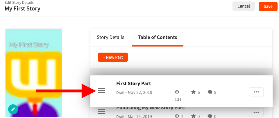 Screenshot of how to reorder your story parts on web