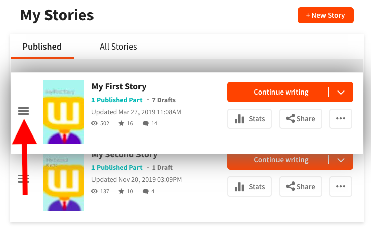 Screenshot reordering stories on profile on web
