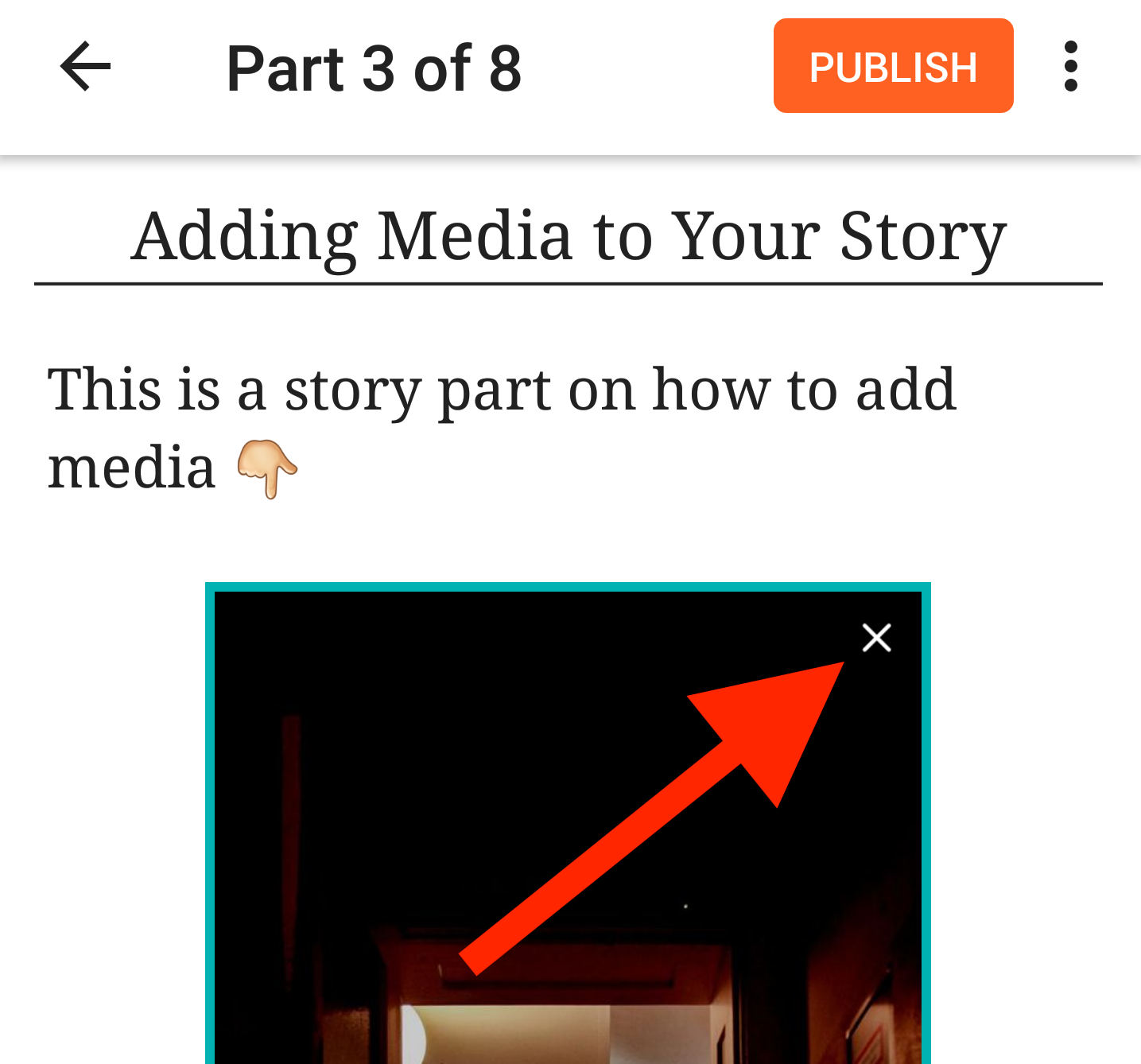 A screenshot pointing to the remove image option inline on Android
