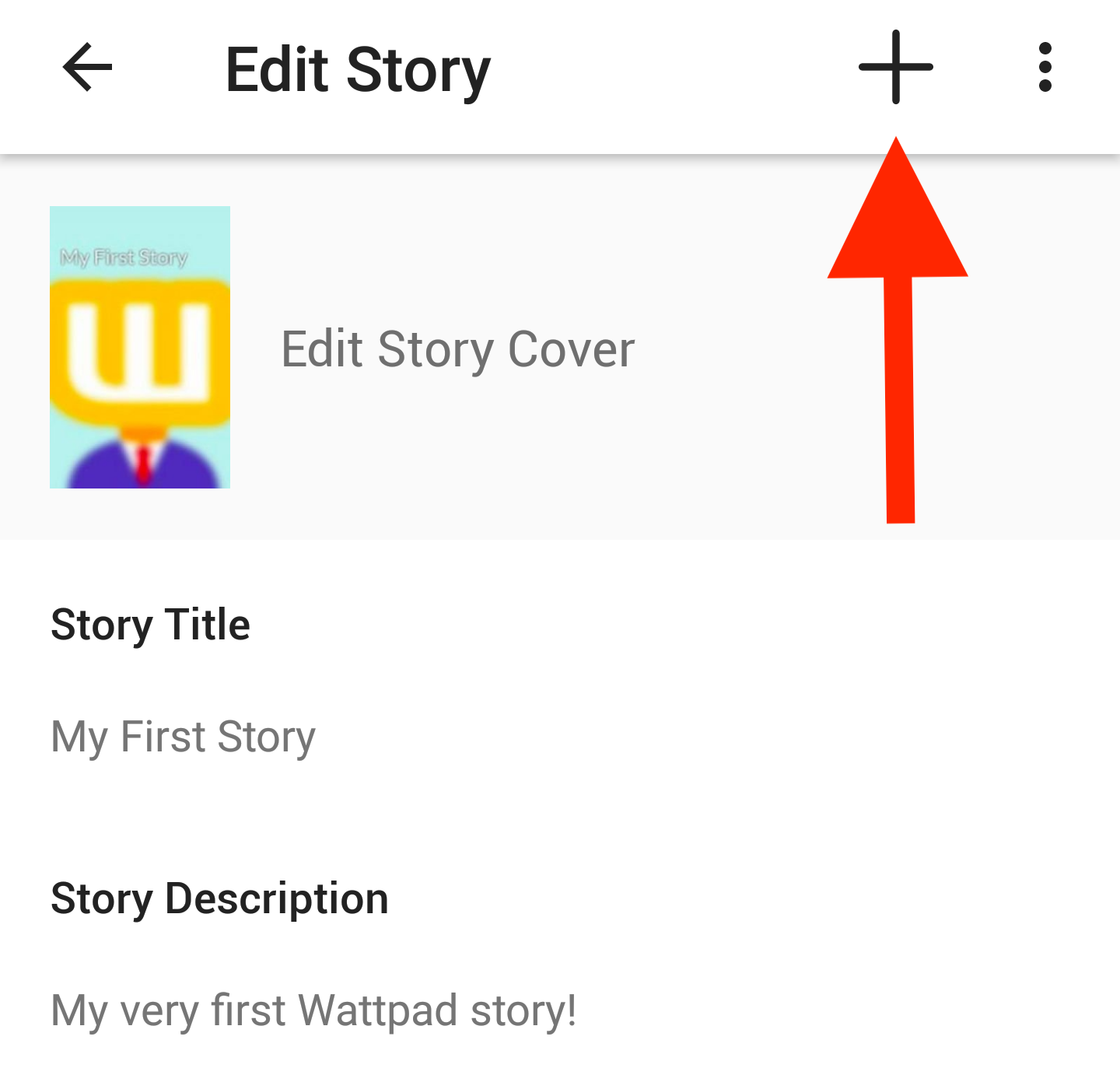 Screenshot pointing to add new part icon on Android