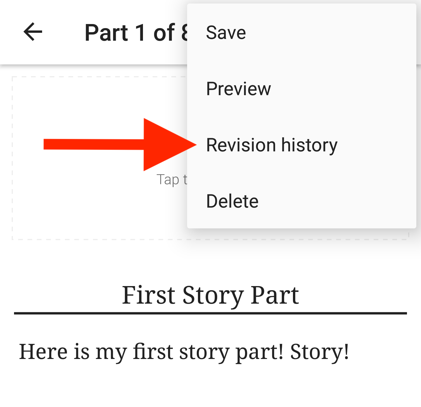 Screenshot pointing to revision history on Android