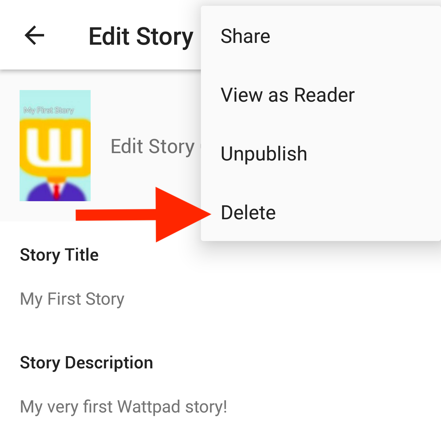 Screenshot of how to delete a story on Android