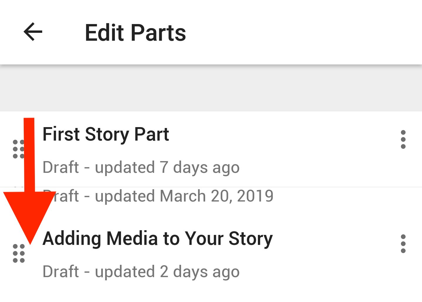 Screenshot of how to reorder your story parts on Android