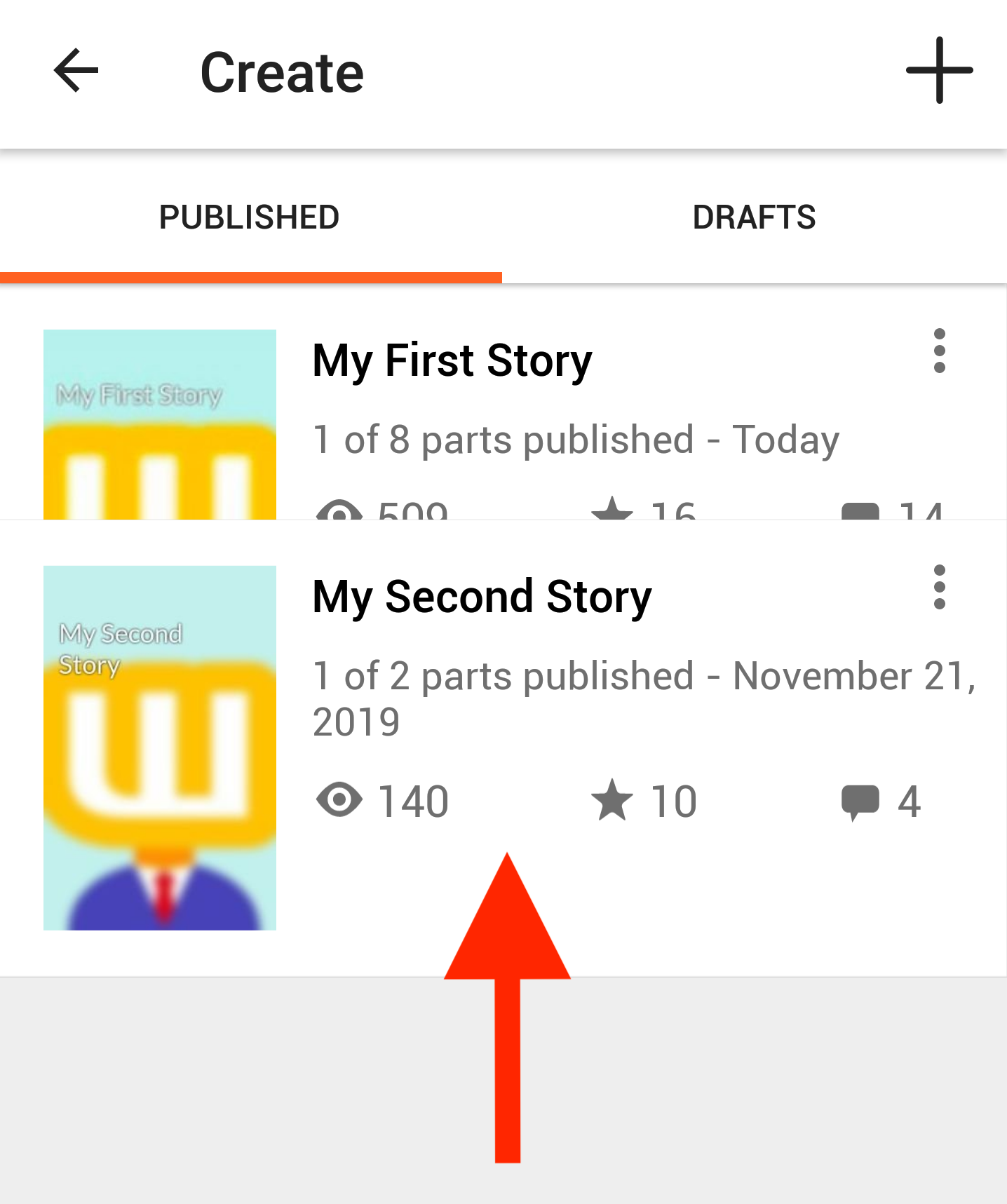 Screenshot reordering stories on profile on Android