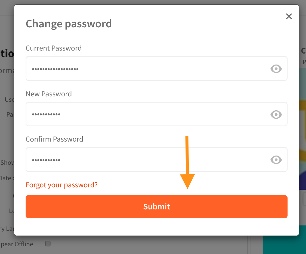 A screenshot of the filled in password fields, with an arrow pointing at the 'Save' button underneath the password fields.