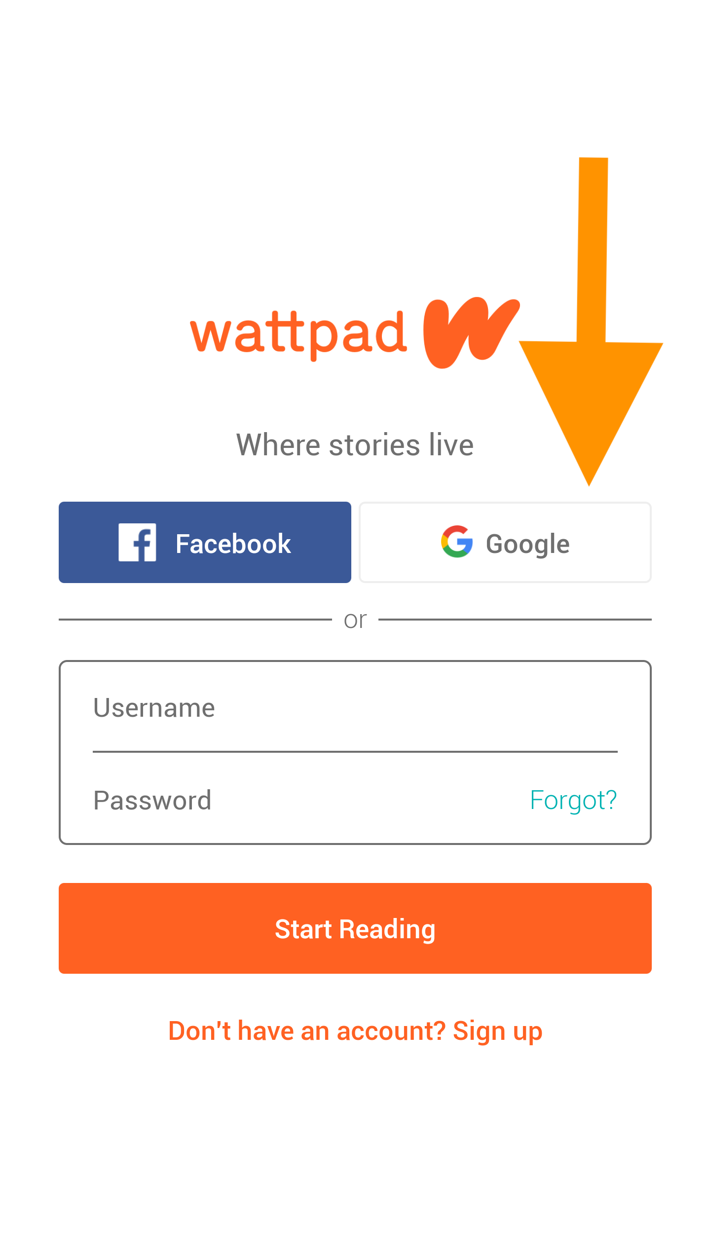 Screenshot of the Wattpad sign-up page with a large arrow pointing at the Google button. The button is located beneath the main logo and on the right of the Facebook button.