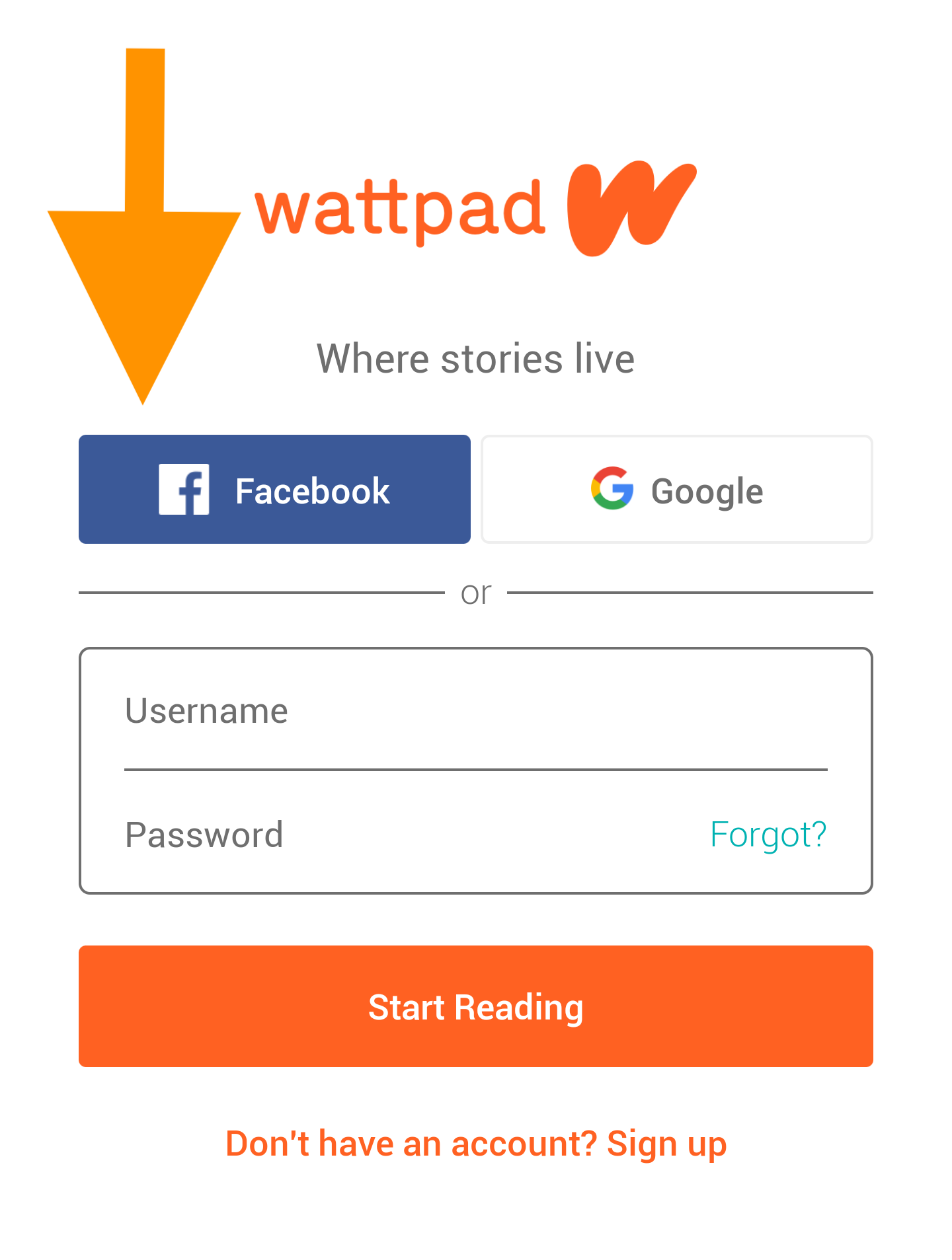 Screenshot of the Wattpad sign-up page with a large arrow pointing at the Facebook button. The button is located beneath the main logo and on the left of the Google button.