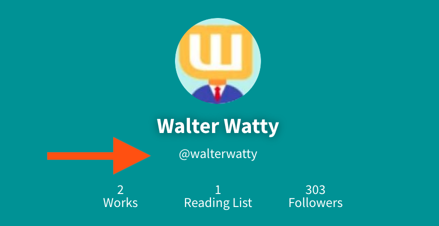 An image of the main profile picture page, with an arrow pointing at the username, 'Walter Watty'. The username is located beneath the full name, and before the number of works.