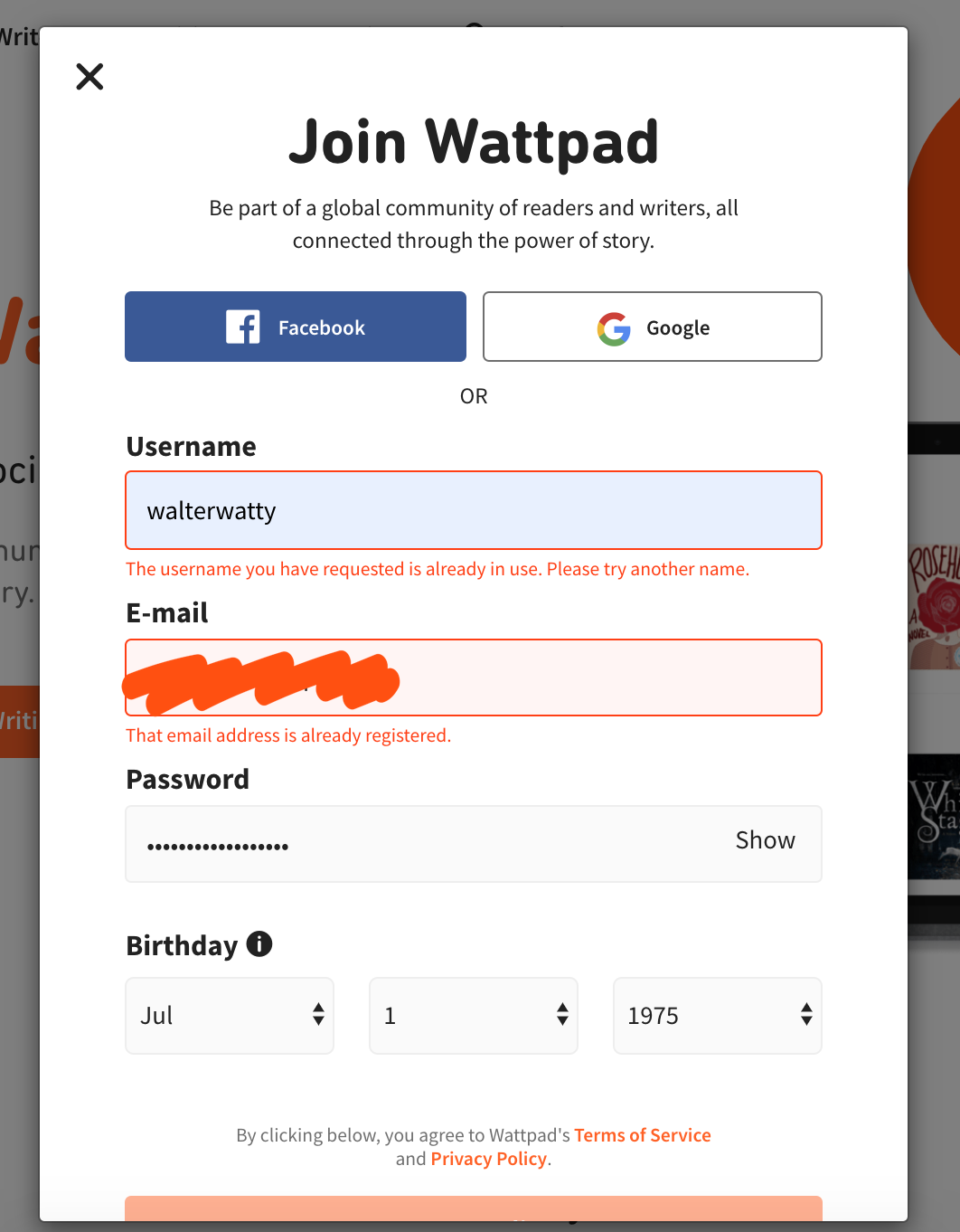 A screenshot of the sign up pop-out window, with the Username, Email, Password, and birthday fields filled in. The 'Start Writing' button appears beneath these fields.