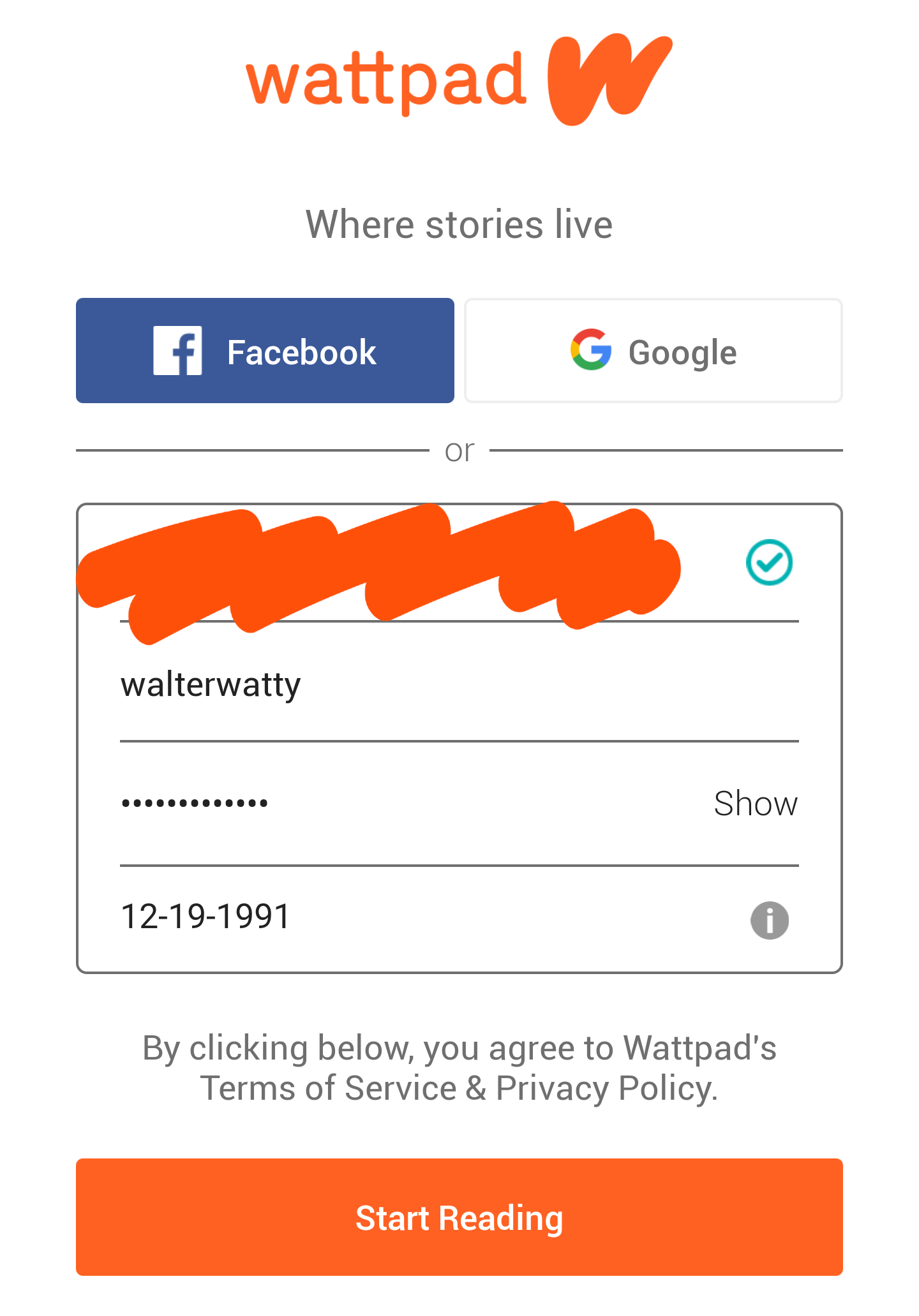 An image of the Wattpad sign-up page on a mobile device, with blank fields for email address, username, password, and birthday.